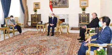 الرئيس السيسي خلال استقبالة وزيرة خارجية اسبانيا