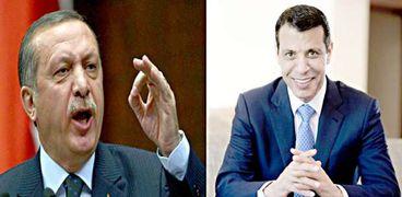 القيادي الفلسطيني محمد دحلان والرئيس التركي أردوغان