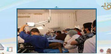 لقطة من إتمام الجراحة لأسد حديقة الحيوان