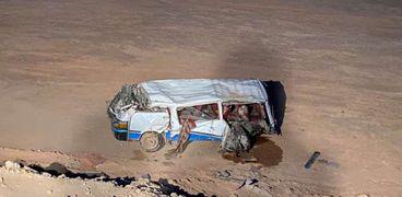 مصرع ٣ أشخاص وإصابة ٤ آخرين في تصادم بصحراوي سوهاج