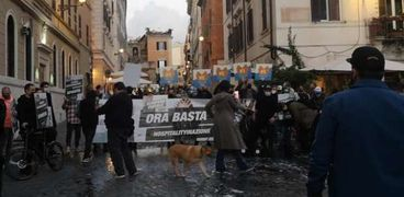 مظاهرات ضد الحظر الليلي في روما