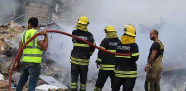 عملية إطفاء مرفأ بيروت