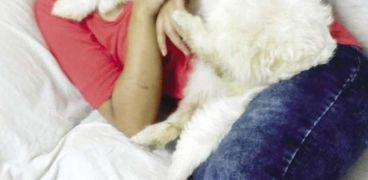 «مونيكا» مع أحد الكلاب التى تؤويها