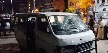 «ميكروباص حلوان» بعد تنفيذ العملية الإرهابية «صورة أرشيفية»