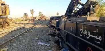 جانب من حادث قطاري سوهاج