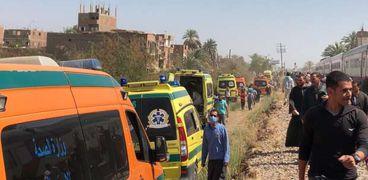 حادث تصادم قطارين في سوهاج