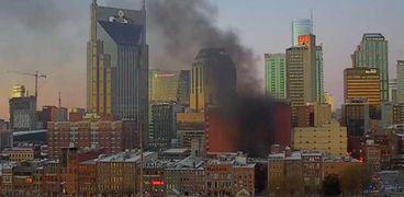 تصاعد الدخان من مكان الانفجار