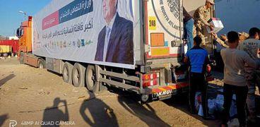 وصول قافلة صندوق تحيا مصر لأهالي بئر العبد والشيخ زويد