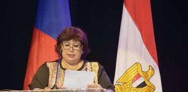 الدكتورة إيناس عبد الدايم وزيرة الثقافة خلال إطلاق فعاليات عام التيادل الإنساني المصري الروسي بالأوبرا