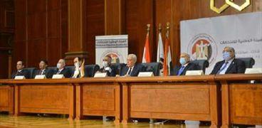أعضاء الهيئة الوطنية للانتخابات خلال مؤتمر صحفى سابق