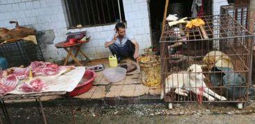 """سوق المأكولات البحرية واللحوم بمدينة """"ووهان"""""""