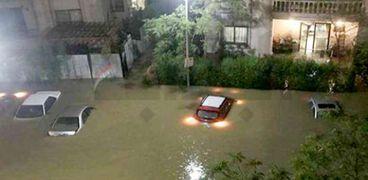 مدينة التجمع غرقت بالكامل بسبب مياه الأمطار