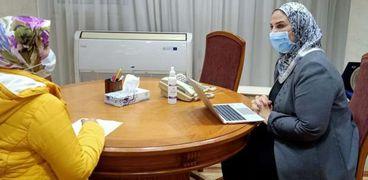 الدكتورة نيفين القباج وزيرة التضامن الاجتماعى أثناء  حوارها مع الوطن