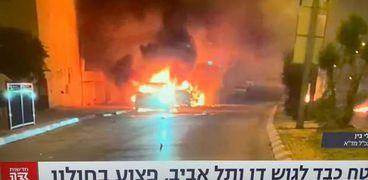 سقوط صاروخ على تل أبيب