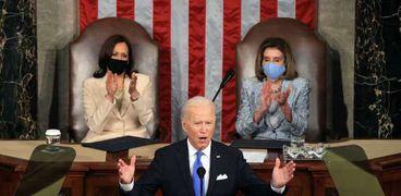 الرئيس الأمريكي جو بايدن خلال خطاب الـ100 يوم أمام الكونجرس