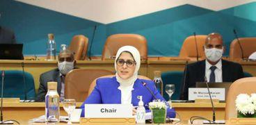 وزيرة الصحة خلال ترأسها في اجتماع المكتب الإقليمي لمنظمة الصحة العالمية أمس