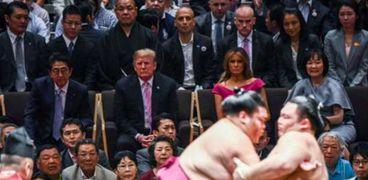ترامب اثناء حضور مصارعة السومو