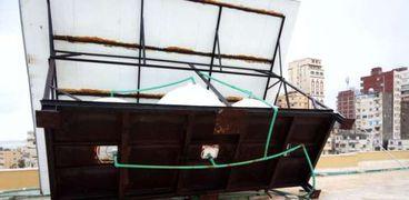 سقوط 3 خزانات للمياه على سطح قصر ثقافة الأنفوشي بالإسكندرية
