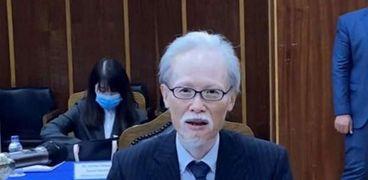 السفير اليابانى بالقاهرة نوكى ماساكى أثناء حفل التوقيع