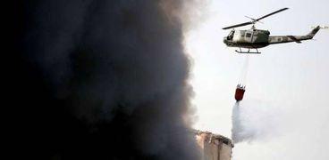 خلال عملية إخماد حريق مرفأ بيروت