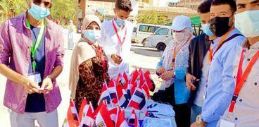 جامعة مطروح مع أول أيام الدراسة وأعلام مصر بكلية التربية