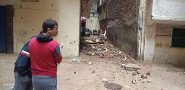 انهيار سور مبنى على عقار مجاور في الإسكندرية