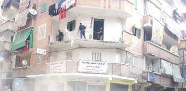 انهيار شرفة عقار قديم في الإسكندرية
