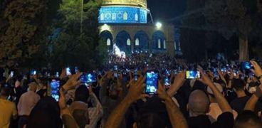 احتفالات المسجد الأقصى بقرار وقف إطلاق النار