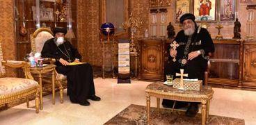 البابا مع الأنبا تادرس في لقاء سابق