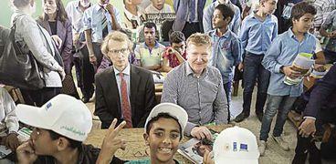 سفير الاتحاد الأوروبى خلال افتتاح مشروع لتعليم الأطفال فى المنيا