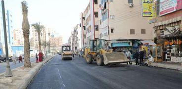 محافظ المنوفية أعمال رصف منطقة المستشفى التعليمي بشبين الكوم