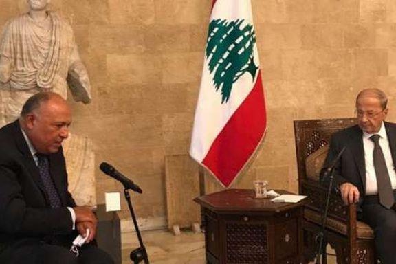 وزير الخارجية المصرى خلال لقاء الرئيس اللبنانى ميشال عون