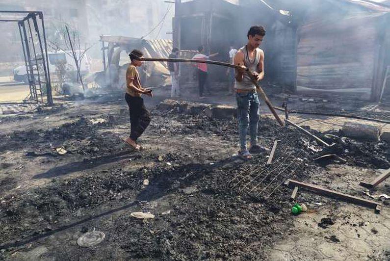 السيطرة على حريق سوق حلوان.. ولا خسائر بالأرواح