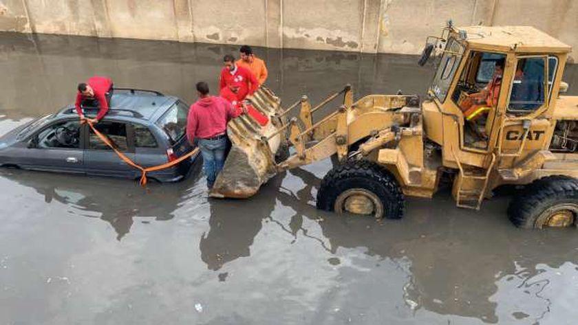 تجمعات للمياه بسبب الأمطار والسيول