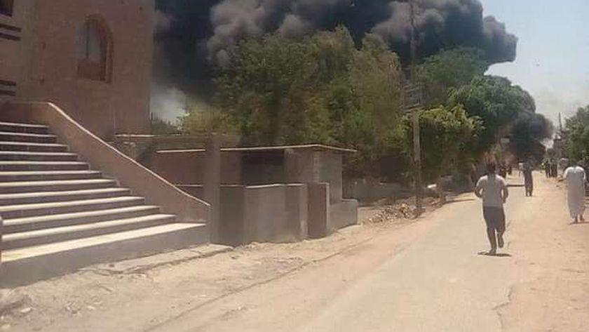 حريق هائل في بنزينه فيشا الصغري في المنوفية