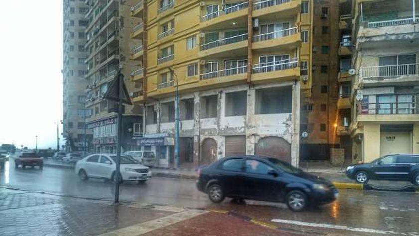 كورنيش الإسكندرية خلال الأمطار