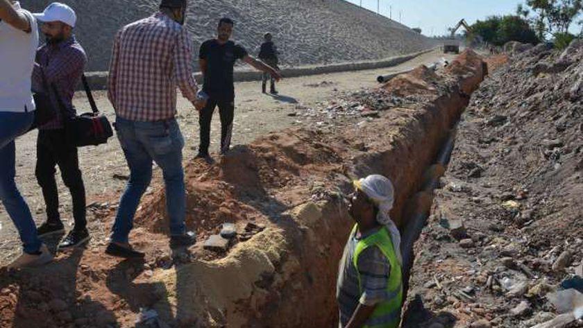خط مياه لحي غرب المنيا