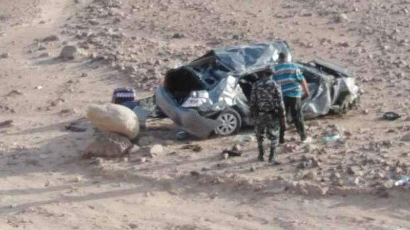 حادث انقلاب سيارة ملاكي