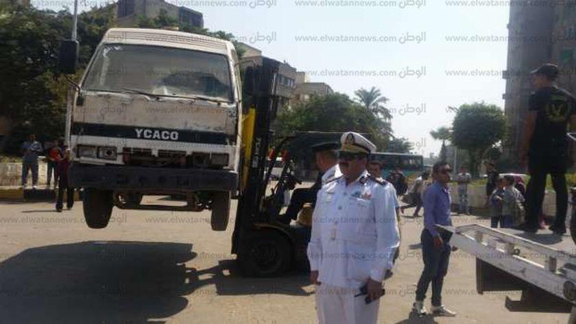 حملات قوات الأمن بالجيزة لإزالة الإشغالات