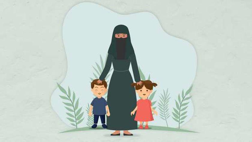 صورة تعبيرية للأم رشا وطفليها