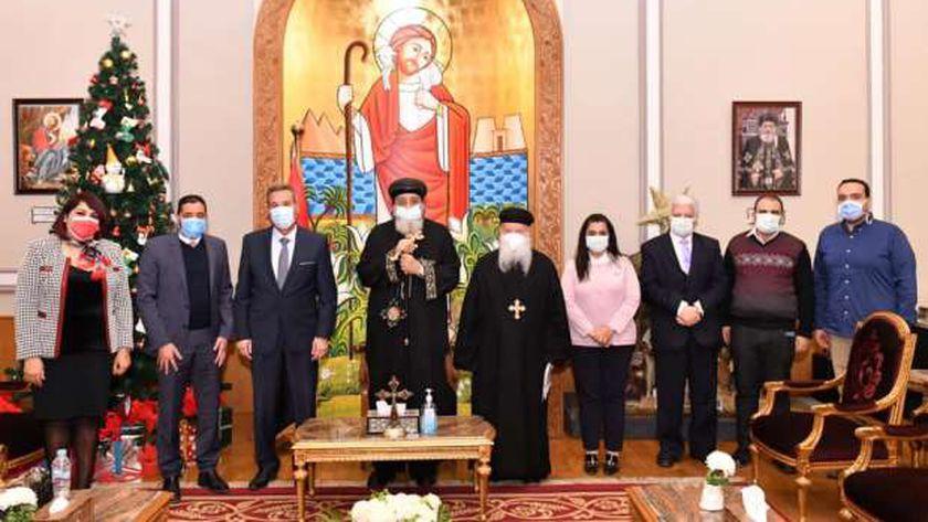 البابا مع وفد بنك مصر