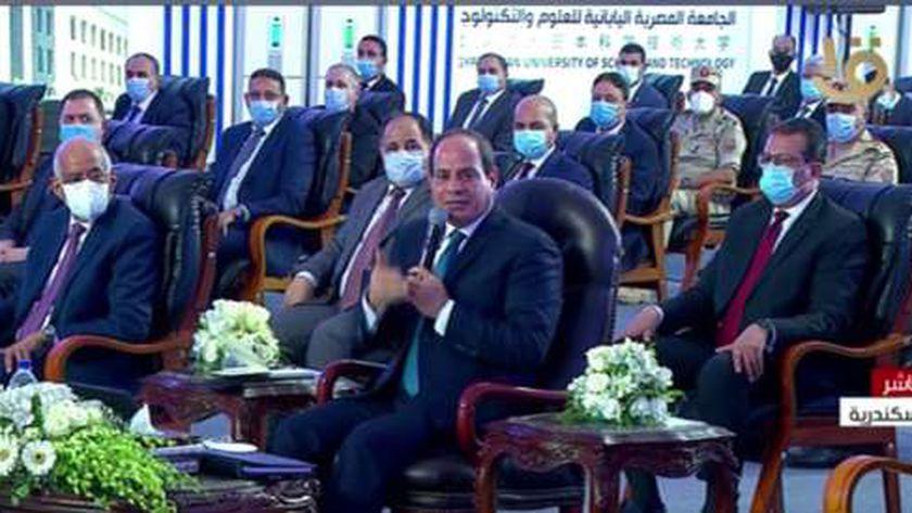 الرئيس السيسي يوجه بمراعاة ظروف المرأة العاملة خلال افتتاح بعض المشروعات بالاسكندرية