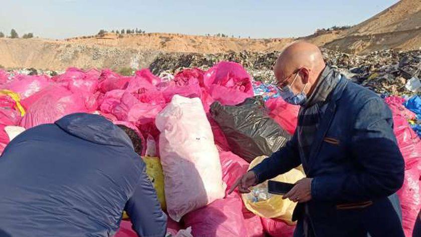 ضبط كميات هائلة من النفايات الطبية بمدفن القمامة في بلبيس
