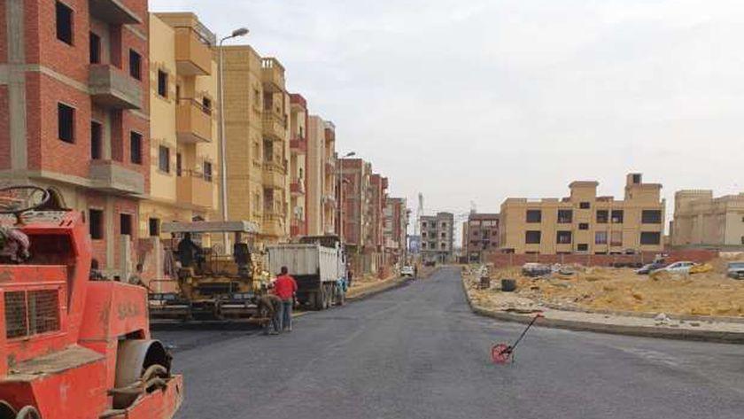 طرق ومرافق منطقة الإسكان الإجتماعى بمدينة الشروق