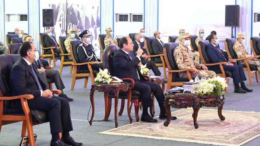 الرئيس عبد الفتاح السيسي في افتتاح مشروع الاستزراع السمكي أمس - أرشيفية-