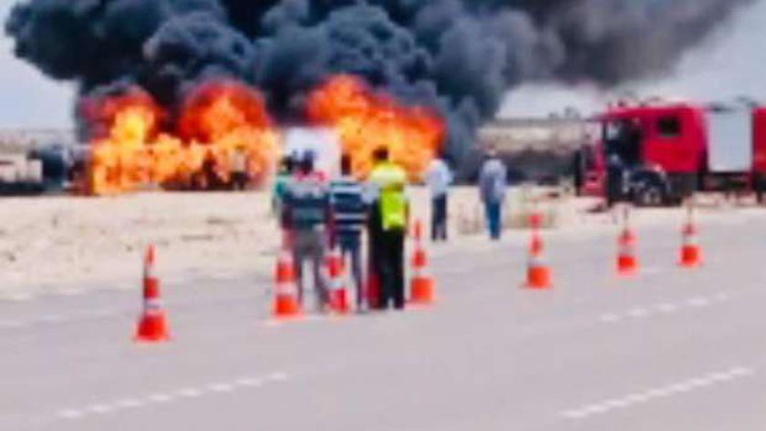 حريق في سيارة على طريق مطروح بالساحل الشمالى