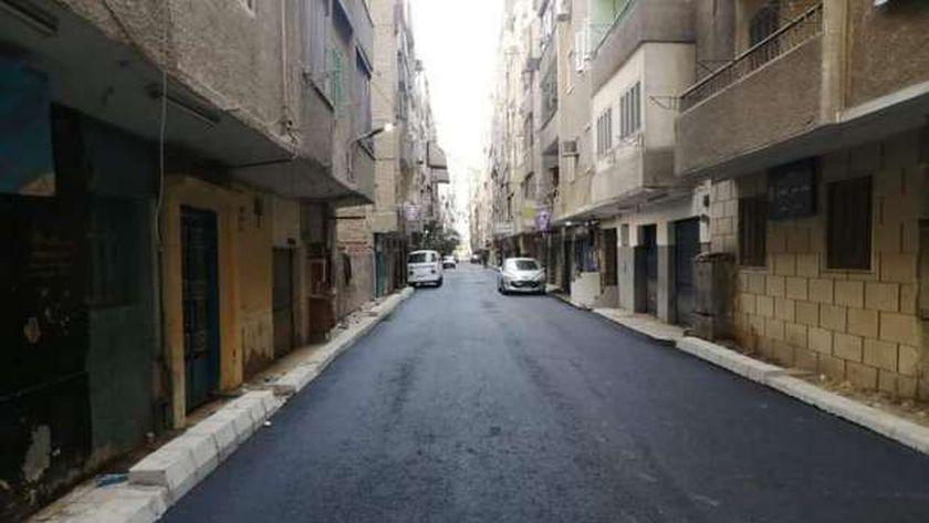 لشوارع التي تم رصفها باحياء الجيزة