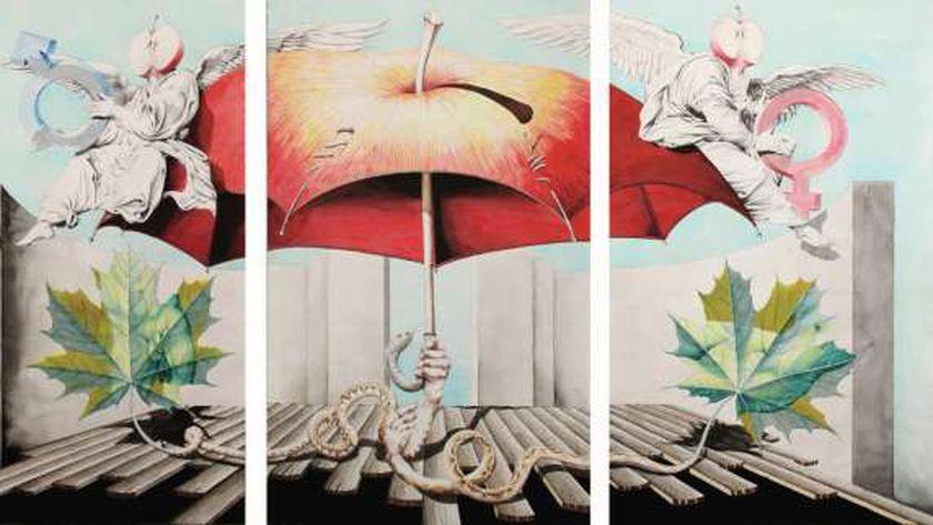 """أحد أعمال معرض """"آدم وحواء"""" للفنان التشكيلي ياسر رستم بجاليري نوت"""