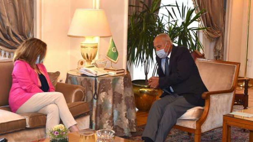 جانب من لقاء أبو الغيط وممثلة الأمم المتحدة