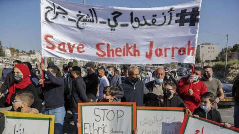 جانب من مسيرات التضامن مع حي الشيخ جراح